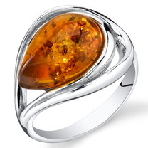 Baltic Amber Tear Drop Ring Sterling Silver Cognac Color Sizes 5-9 SR11308