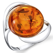 Baltic Amber Swirl Ring Sterling Silver Cognac Color Large Round Shape Sizes 5-9 SR11310