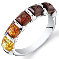 Five Stone Baltic Amber Ring Sterling Silver Multiple Colors Sizes 5-9 SR11312