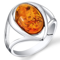 Baltic Amber Ring Sterling Silver Cognac Color Oval Shape Sizes 5-9 SR11314