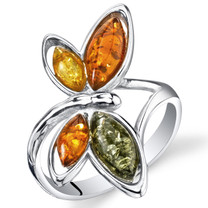 Baltic Amber Butterfly Ring Sterling Silver Cognac Color Multiple Colors Sizes 5-9 SR11316