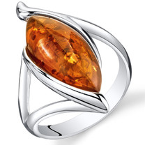 Baltic Amber Elliptical Ring Sterling Silver Cognac Color Marquise Shape Sizes 5-9 SR11318