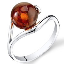 Baltic Amber Spherical Spiral Ring Sterling Silver Cognac Color Sizes 5-9 SR11322