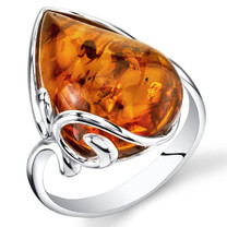 Baltic Amber Large Tear Drop Ring Sterling Silver Cognac Color Sizes 5-9 SR11324