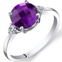 14K White Gold Amethyst Diamond Ring 1.75 Carat Round Cut
