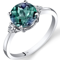 14K White Gold Created Alexandrite Diamond Ring 2.25 Carat Round Cut