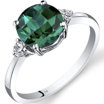 14K White Gold Created Emerald Diamond Ring 1.75 Carat Round Cut