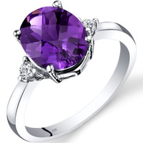 14K White Gold Amethyst Diamond Ring 2.00 Carat Oval Cut