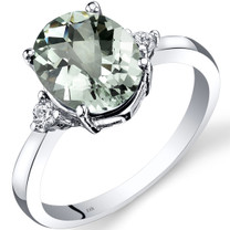 14K White Gold Green Amethyst Diamond Ring 2.25 Carat Oval Cut