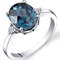 14K White Gold London Blue Topaz Diamond Ring 2.75 Carat Oval Cut