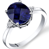 14K White Gold Created Sapphire Diamond Ring 3.50 Carat Oval Cut