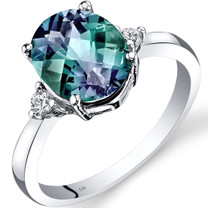 14K White Gold Created Alexandrite Diamond Ring 3.00 Carat Oval Cut
