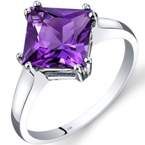14K White Gold Amethyst Solitaire Ring 2.00 Carat Princess Cut