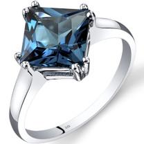 14K White Gold London Blue Topaz Solitaire Ring 2.75 Carat Princess Cut