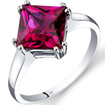 14K White Gold Created Ruby Solitaire Ring 3.25 Carat Princess Cut