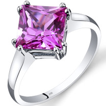 14K White Gold Created Pink Sapphire Solitaire Ring 3.25 Carat Princess Cut