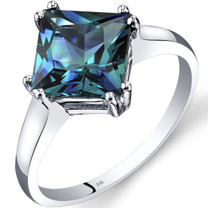 14K White Gold Created Alexandrite Solitaire Ring 2.75 Carat Princess Cut