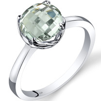 14K White Gold Green Amethyst Solitaire Ring 1.75 Carat Checkerboard Cut