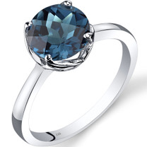 14K White Gold London Blue Topaz Solitaire Ring 2.25 Carat Checkerboard Cut