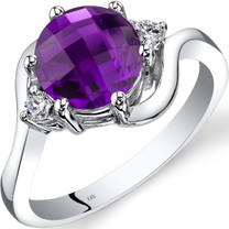 14K White Gold Amethyst Diamond 3 Stone Ring 1.75 Carat