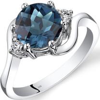 14K White Gold London Blue Topaz Diamond 3 Stone Ring 2.25 Carat