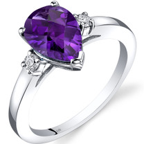 14K White Gold Amethyst Diamond Tear Drop Ring 1.50 Carat