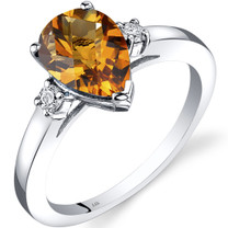 14K White Gold Citrine Diamond Tear Drop Ring 1.50 Carat