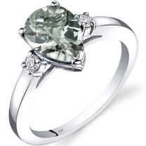 14K White Gold Green Amethyst Diamond Tear Drop Ring 1.50 Carat
