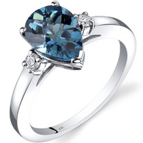 14K White Gold London Blue Topaz Diamond Tear Drop Ring 2.25 Carat