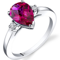 14K White Gold Created Ruby Diamond Tear Drop Ring 2.50 Carat