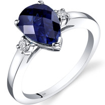 14K White Gold Created Sapphire Diamond Tear Drop Ring 2.50 Carat