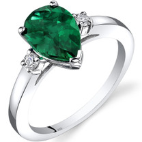 14K White Gold Created Emerald Diamond Tear Drop Ring 1.75 Carat