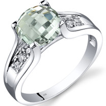 14K White Gold Green Amethyst Diamond Cathedral Ring 1.75 Carat