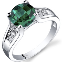 14K White Gold Created Emerald Diamond Cathedral Ring 1.75 Carat