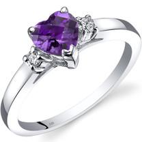 14K White Gold Amethyst Diamond Heart Ring 0.75 Carat