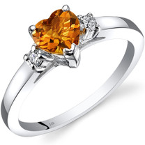 14K White Gold Citrine Diamond Heart Ring 0.75 Carat