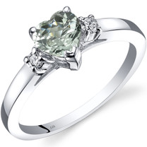 14K White Gold Green Amethyst Diamond Heart Ring 0.75 Carat