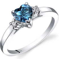 14K White Gold London Blue Topaz Diamond Heart Ring 1.00 Carat