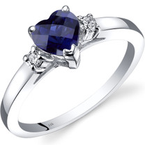 14K White Gold Created Sapphire Diamond Heart Ring 1.00 Carat