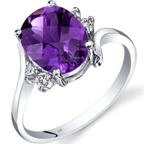 14K White Gold Amethyst Diamond Bypass Ring 2.00 Carat
