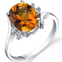 14K White Gold Citrine Diamond Bypass Ring 2.25 Carat