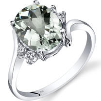 14K White Gold Green Amethyst Diamond Bypass Ring 2.25 Carat