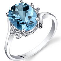 14K White Gold Swiss Blue Topaz Diamond Bypass Ring 2.75 Carat