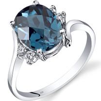 14K White Gold London Blue Topaz Diamond Bypass Ring 2.75 Carat