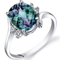 14K White Gold Created Alexandrite Diamond Bypass Ring 3.00 Carat