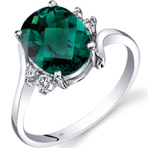 14K White Gold Created Emerald Diamond Bypass Ring 2.50 Carat