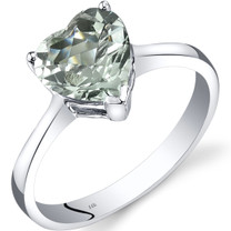 14K White Gold Green Amethyst Heart Solitaire Ring 1.50 Carat
