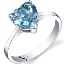 14K White Gold Swiss Blue Topaz Heart Solitaire Ring 2.00 Carat