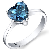 14K White Gold London Blue Topaz Heart Solitaire Ring 2.00 Carat