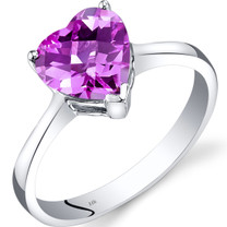 14K White Gold Created Pink Sapphire Heart Solitaire Ring 2.50 Carat